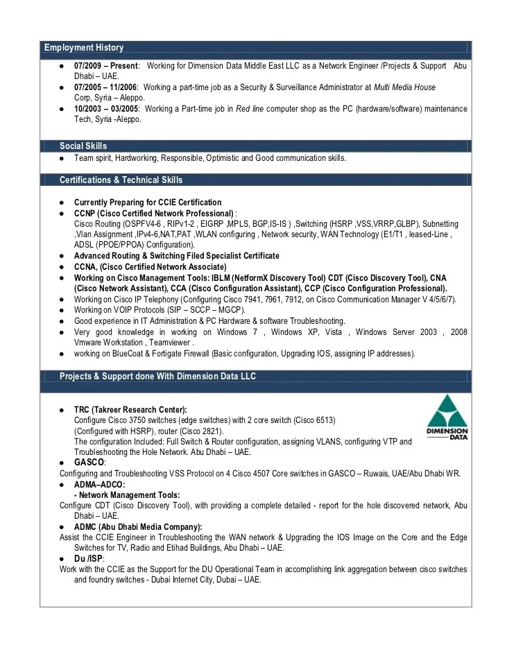 ccie routing and switching resume sample