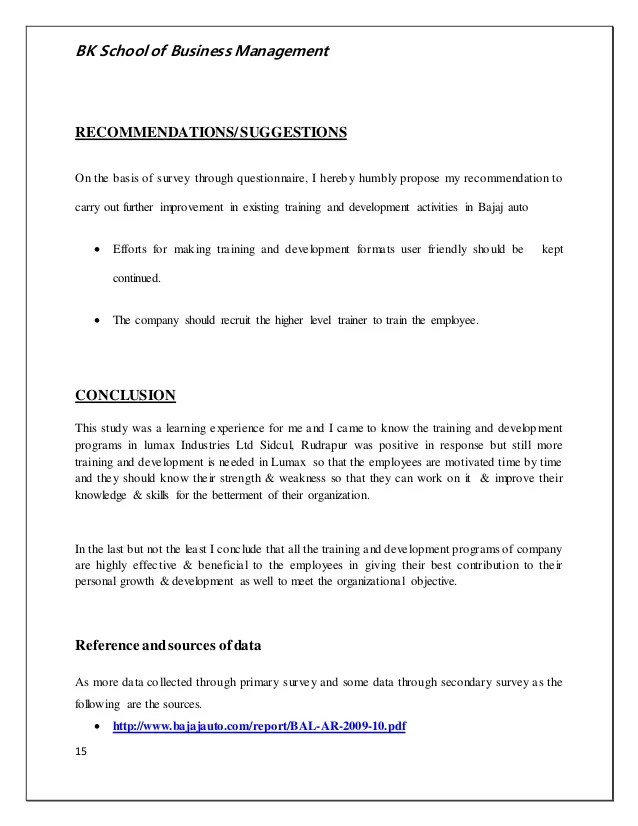 Sample Training Evaluation Form Training And Development Of The Employees In Bajaj Auto