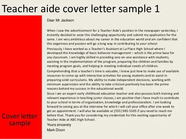 teachers aide cover letters - Minimfagency - Letter To A Teacher