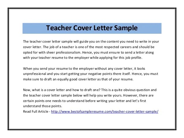 sample cover letter for elementary teaching position - Minimfagency - cover letter sample teacher