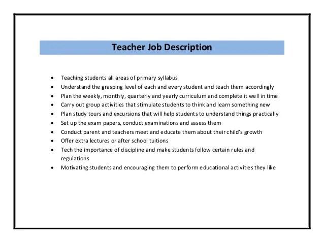 teacher responsibilities for resume - Gottayotti