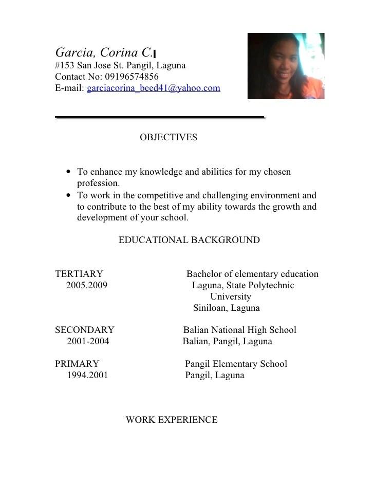 sample resume of teacher applicant - Onwebioinnovate