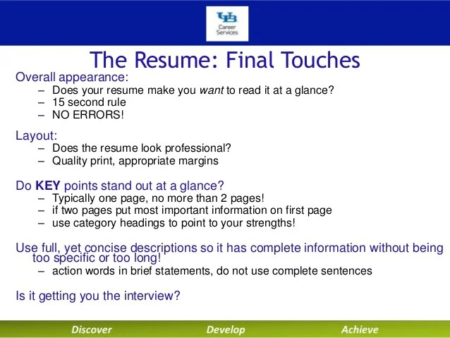 key resume headings