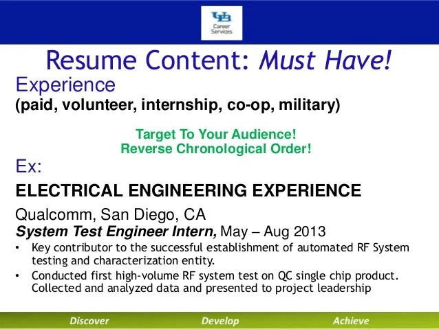 resume for ex military