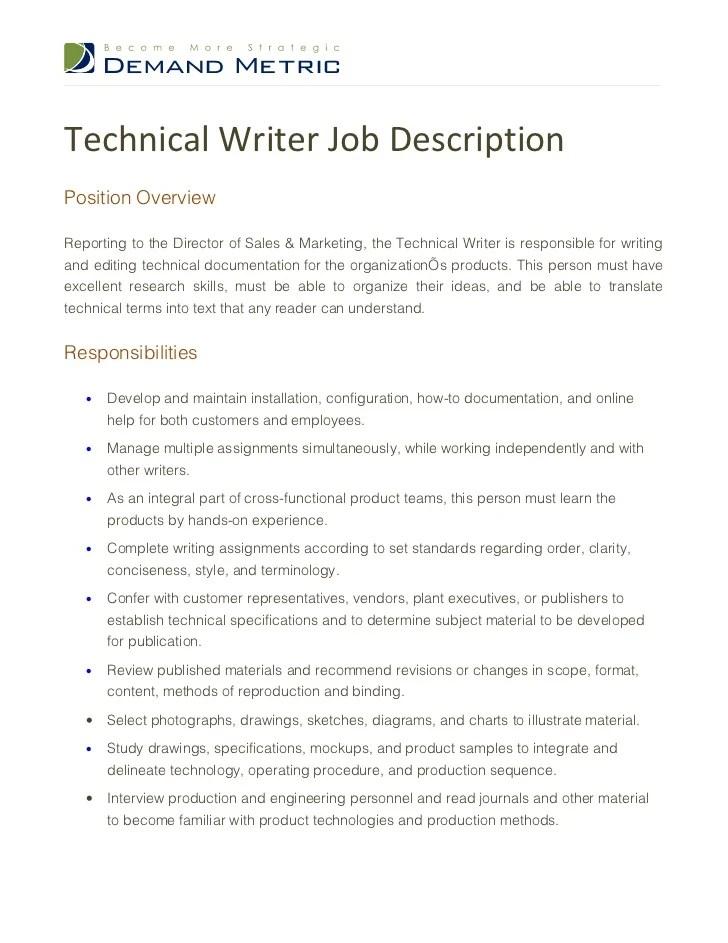 Job Descriptions Resume Examples Samples Templates Technical Writer Job Description