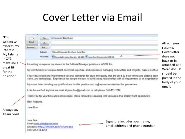 cover letters for a resume email