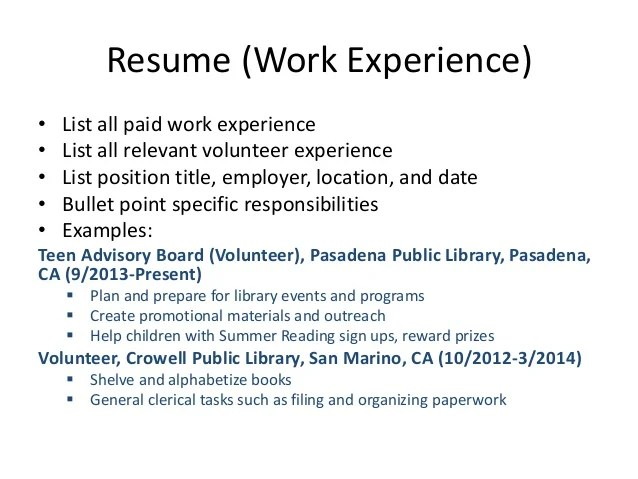 The Senior Resume For High School Students Wise Bread Teen Resume Workshop Pasadena Public Library