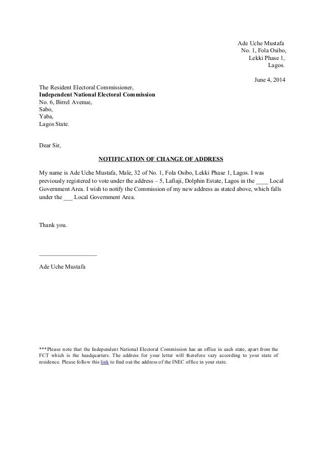 Sample Letter Format For Change Of Address – Address Change Letter Template