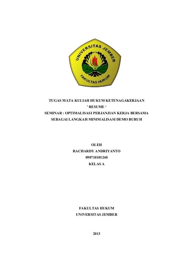 Resume Hukum Ketenagakerjaan Perjanjian Kerja Bersama
