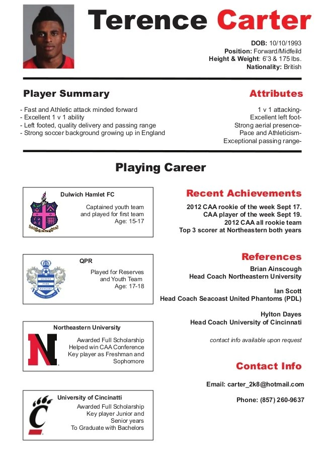 soccer resume for college - Onwebioinnovate - soccer resume samples