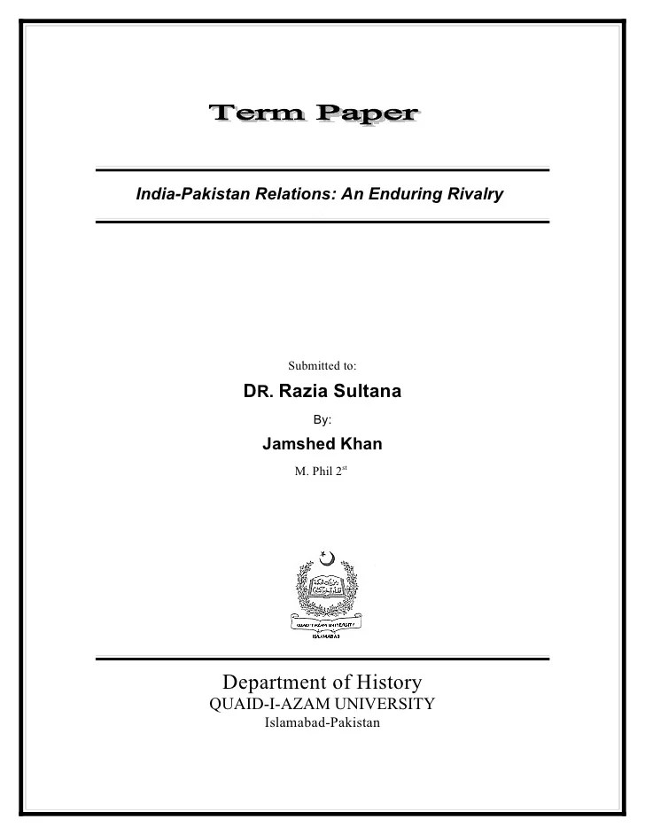 cover page for college paper