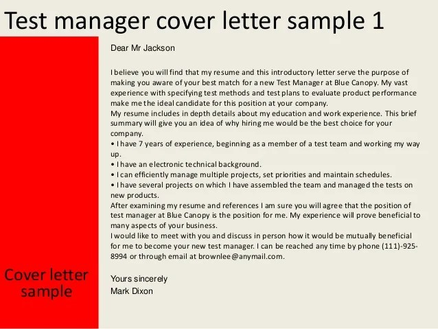 Sample Cover Letters O Resume Cover Letters O Cover Letter Test Manager Cover Letter