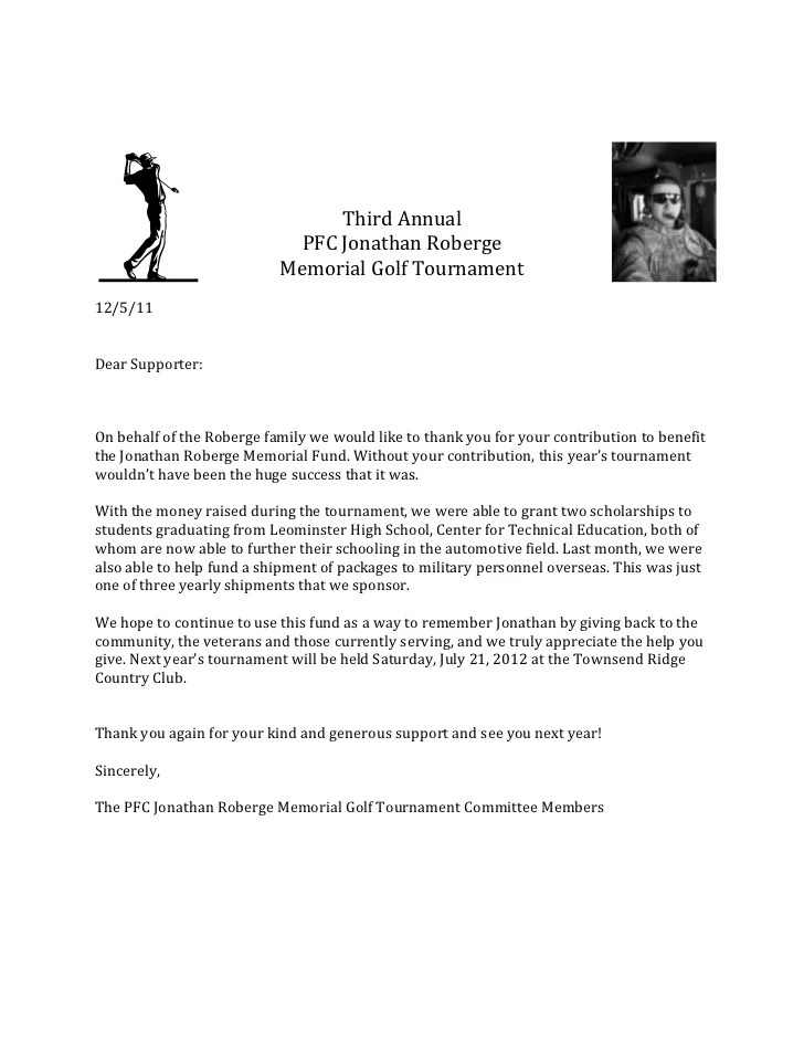 Golf Sponsorship Thank You Letter | Professional Cover Letter Example