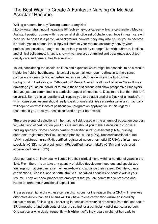 medical assistant profile resume