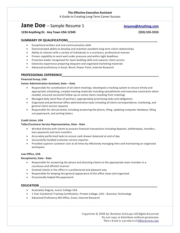 resume sample promotion within company