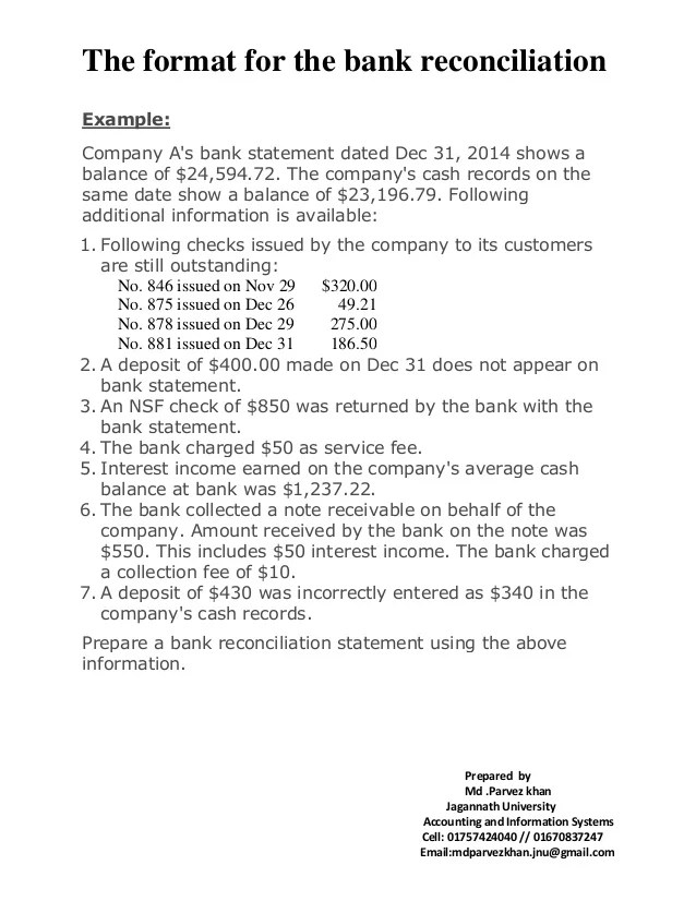 bank reconciliation form example - Intoanysearch - bank reconciliation example