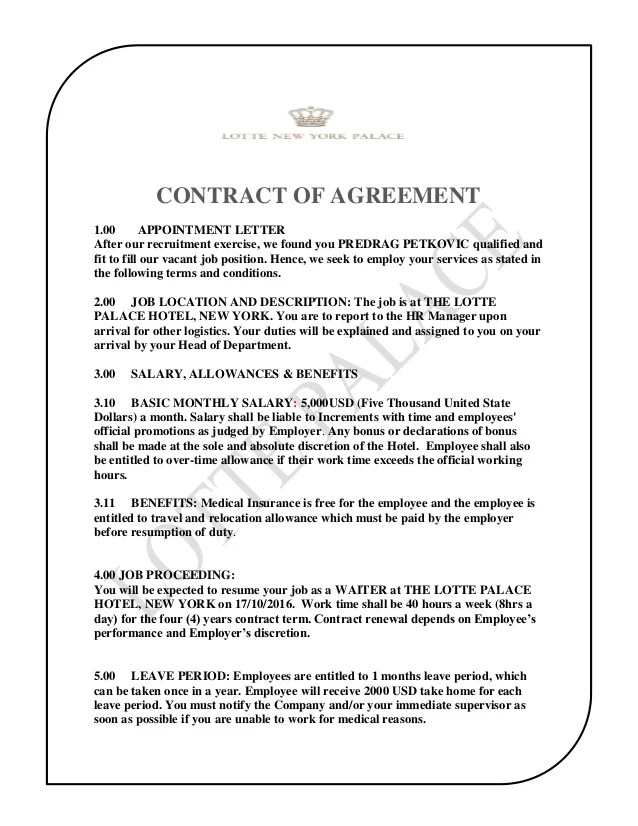 Contract Cancellation Letter Buzzle The Lotte Palace Hotel Contract Of Agreement Predrag