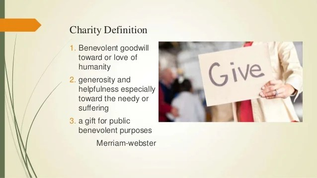 The meaning of charity