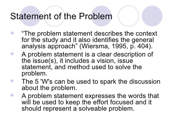 research proposal problem statement examples - Pinarkubkireklamowe
