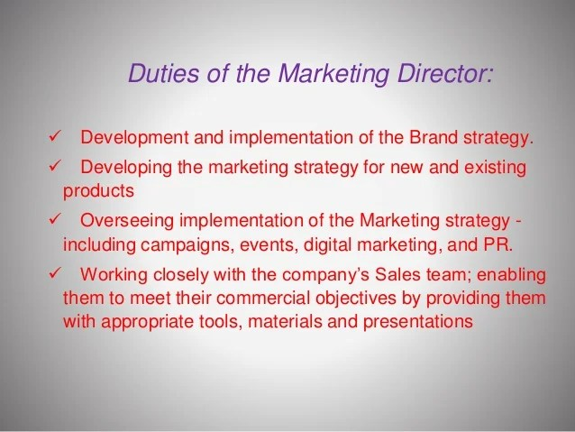 Responsibilities Of A Marketing Director cvfreepro - responsibilities of a marketing director