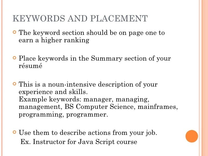 java resume keywords