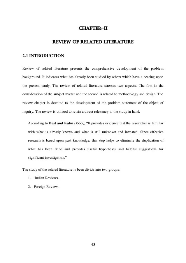 Review Of Related Literature In Educational Research