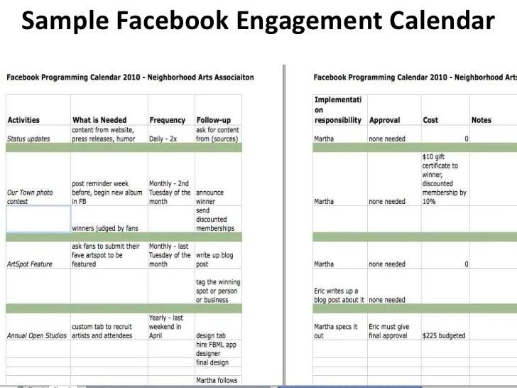 sample social media calendar - Intoanysearch