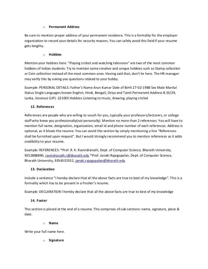 creative resume hobbies