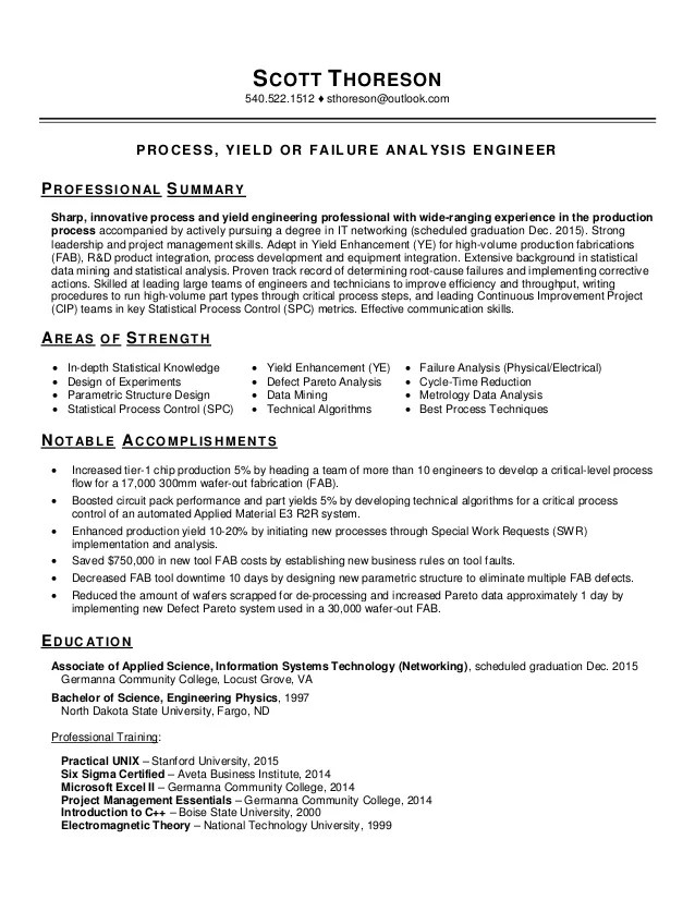 failure resume example