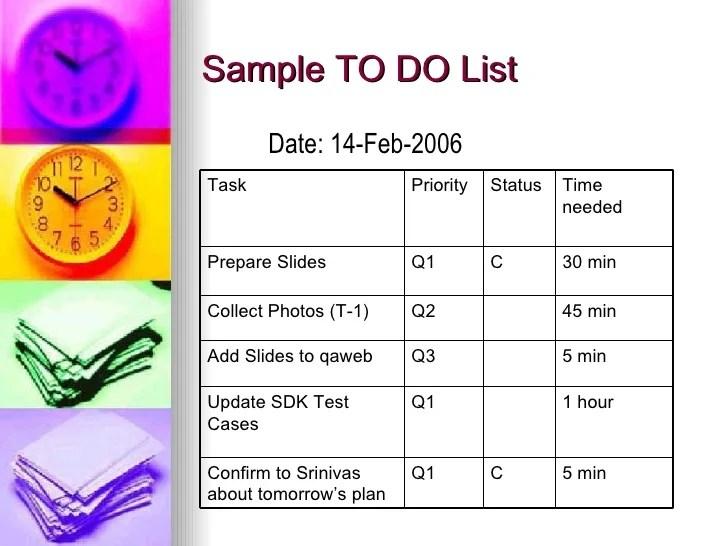 time management sample - Pinarkubkireklamowe