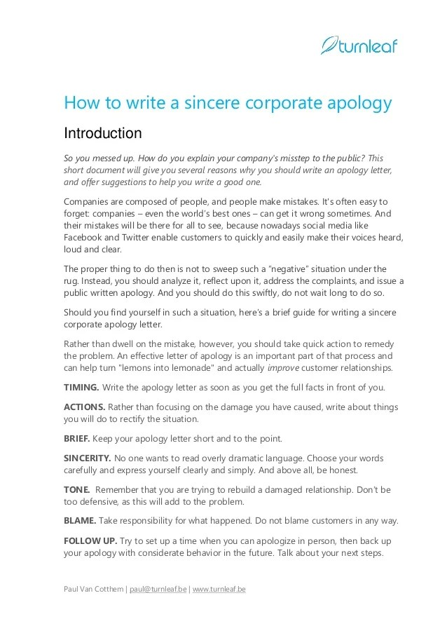corporate apology letter - Deanroutechoice - example of an apology letter