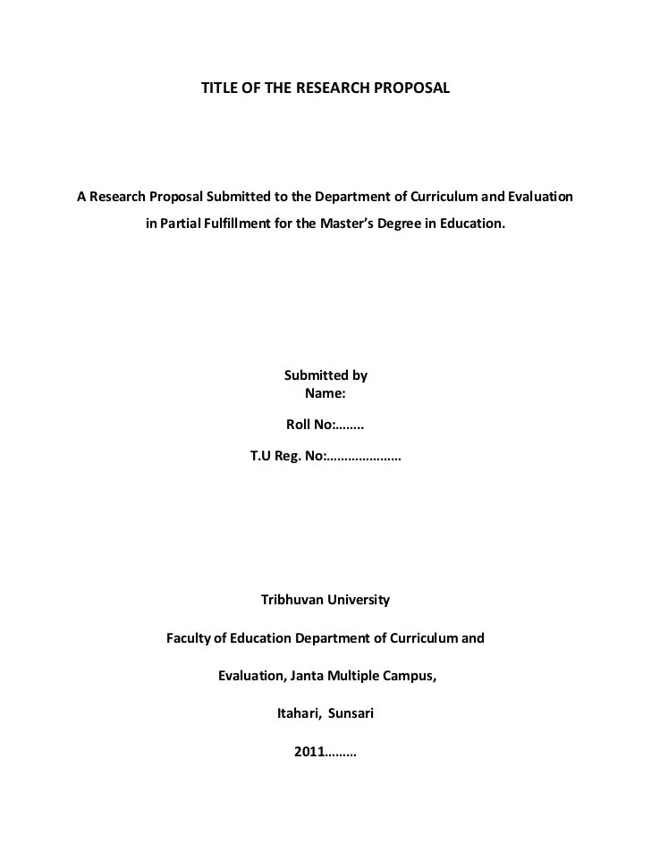 Develop A Research Proposal The Title Page Title Of Research Proposal