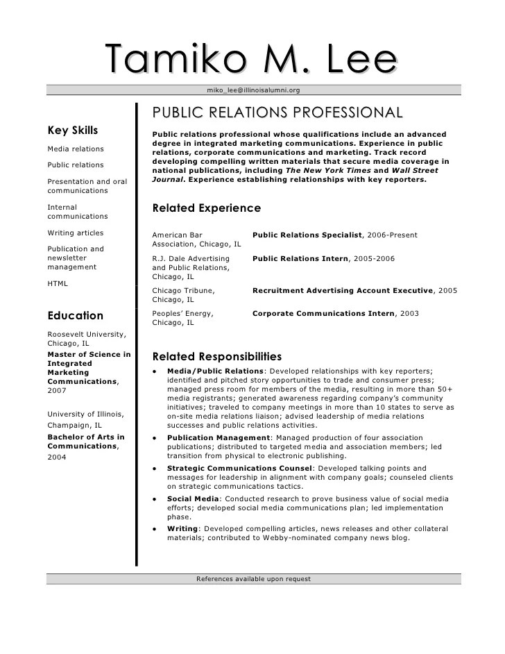 public relations specialist resume - Onwebioinnovate - Sample Public Relations Resume