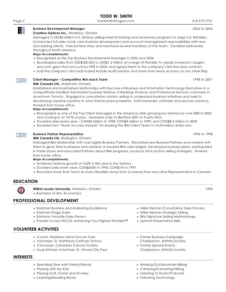 Todd W. Smith - Senior Sales & Marketing Professional Resume