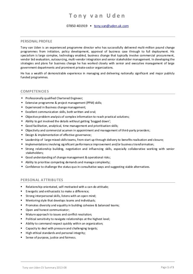 Writing A Personal Profile For Your Cv Careers Advice Tony Van Uden Cv Summary 2013 08