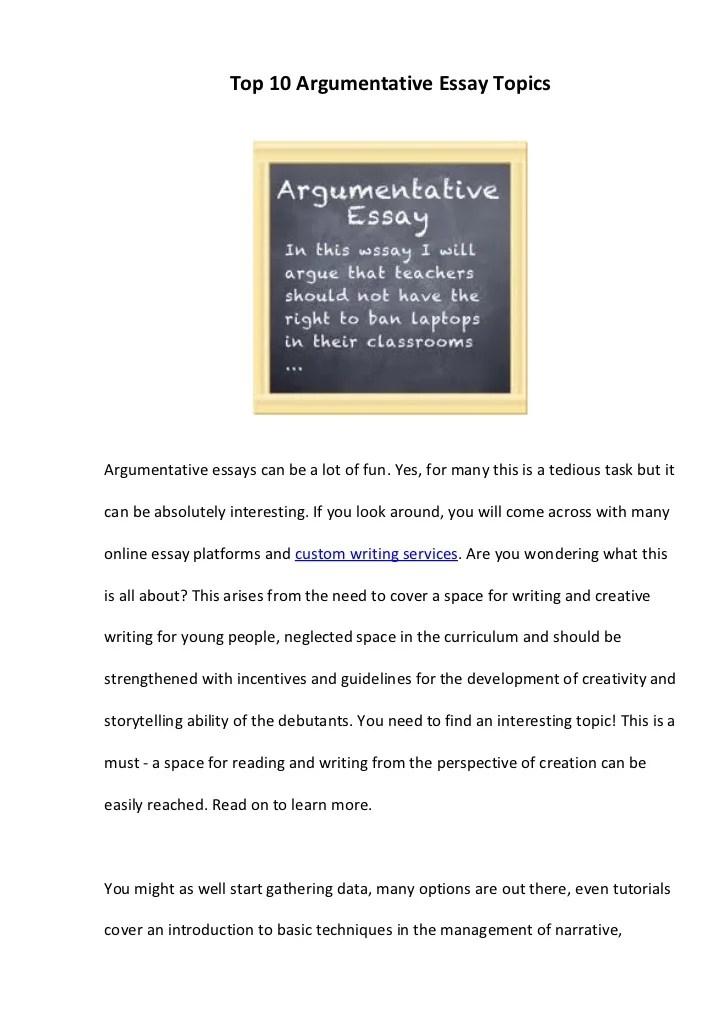 50 argumentative essay topics - Pinarkubkireklamowe