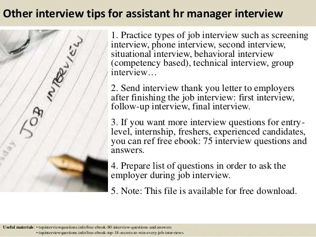 Interview Questions For Hr Manager dnio - hr assistant interview questions