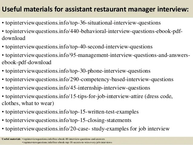 How To Answer Interview Questions In Restaurant