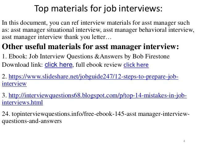 interview questions and answers for assistant manager position