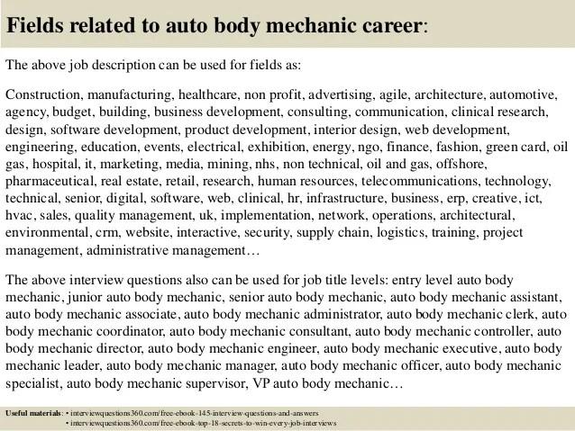 auto body job description - Alannoscrapleftbehind - auto mechanic job description
