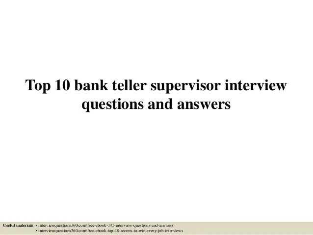 bank teller interview questions and answers