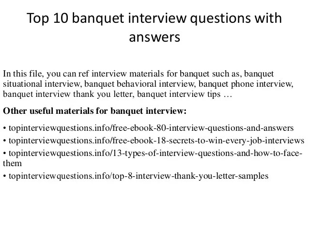 Sumptuous Design Ideas Banquet Servers Jobs Server - Restaurant Interview Questions