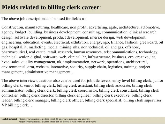 billing clerk job description - Selol-ink