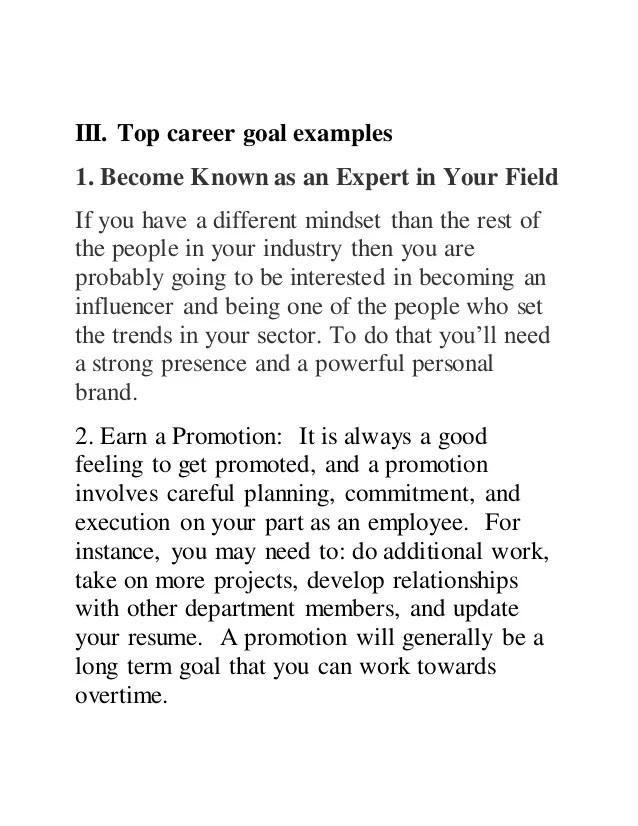 examples career goals - Onwebioinnovate - career examples