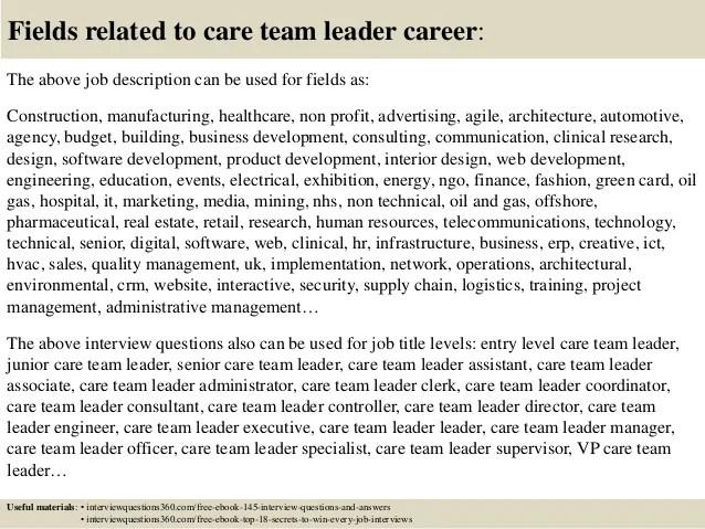 Team Leader Job Description cvfreepro - interview questions for team leader