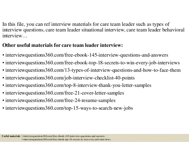 team lead interview questions - Goalgoodwinmetals - sales team leader interview questions
