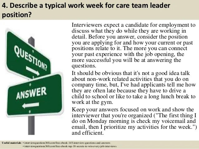interview questions and answers for team leader position - Ecza - questions for team leader interview