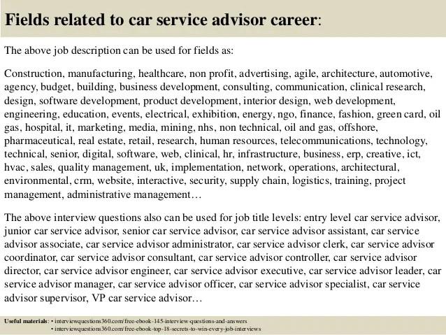customer service sales advisor job description