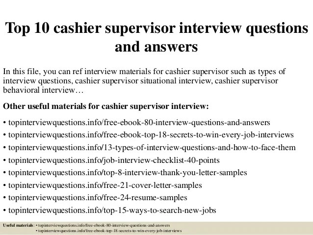 cashier interview answers