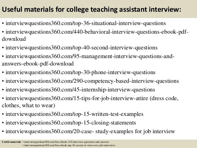 Preparing A Case Study A Guide For Designing And Top 10 College Teaching Assistant Interview Questions And